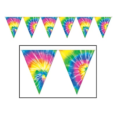 Beistle Tie-Dyed Pennant Banner, 10