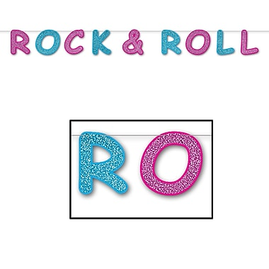 Banderole scintillante Rock and roll, 8 1/2 po x 8 pi, 2/paquet