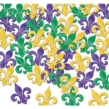 Beistle Fleur De Lis Fanci Confetti, Green/Gold/Purple, 5/Pack