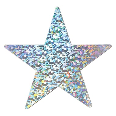 Prismatic Foil Star Cutout, Silver, 6/Pack