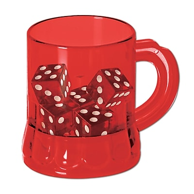 Beistle 3 oz. Mug Shot With Dice, Red, 24/Pack