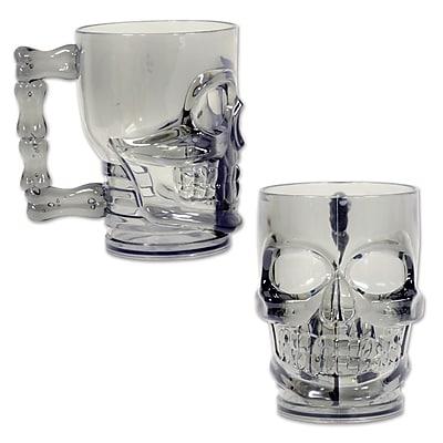 Beistle 20 oz. Skull Mug, Translucent Smoked Black, 2/Pack
