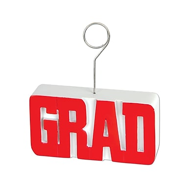 Grad Photo/Balloon Holder, 6 Ounces, Red, 3/Pack