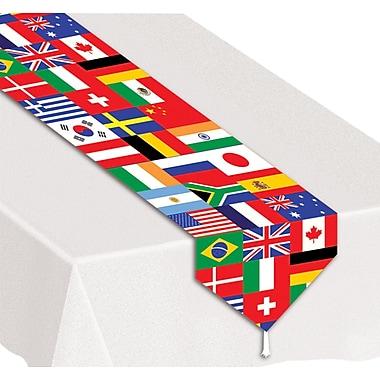 Chemin de table drapeaux internationaux, 11 po x 6 pi, 4/paquet