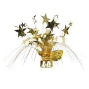 """Beistle 11"""" Star Gleam 'N Spray Centerpiece, Gold, 3/Pack"""