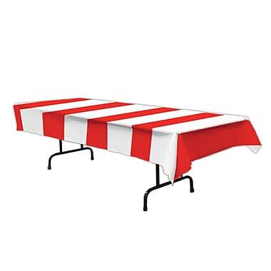 Nappe à bandes, 54 x 108 po, rouge et blanc, 3/paquet