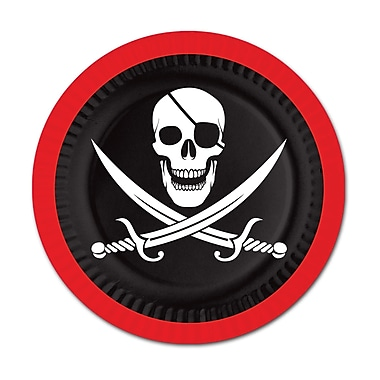 Assiettes pirates, 9 po, 24/paquet
