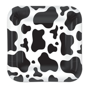 """Beistle 9"""" Square Shaped Cow Print Plate, Black/White, 24/Pack"""