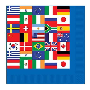 Serviettes de table drapeaux internationaux, 48/paquet