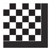"Beistle 6 1/2"" x 6 1/2"" Checkered Luncheon Napkins, Black/White, 48/Pack"