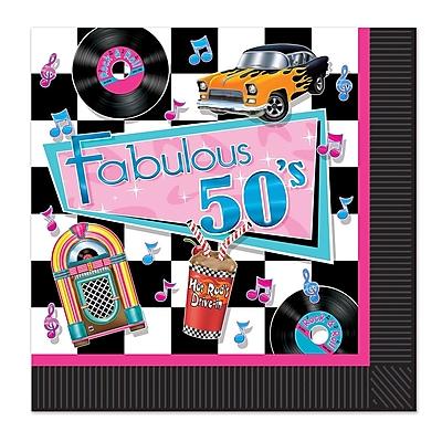 Beistle Fabulous 50s Luncheon Napkin, 48/Pack