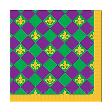 Mardi Gras Beverage Napkins, Beverage, 64/Pack