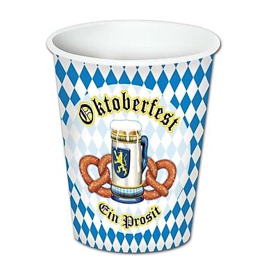 Beistle 9 Oz. Oktoberfest Beverage Cups, Blue/White, 24/Pack