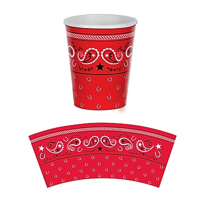 Beistle 9 Oz. Bandana Beverage Cups, Red, 24/Pack 1071979