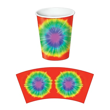 Tie-Dyed Beverage Cups, Holds 9 Ounces, 24/Pack