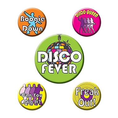 Disco Party Buttons with Sayings, 2-1/3