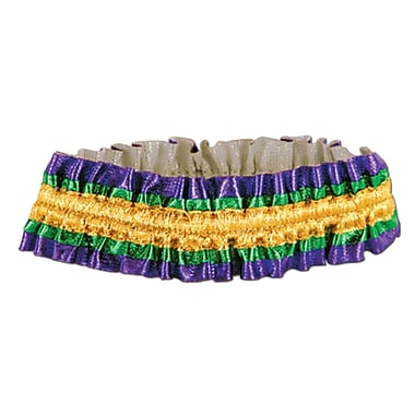 Mardi Gras Arm Bands, One Size Fits Most, Green/Gold/Purple, 10/Pack
