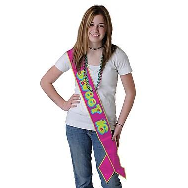 Écharpe en satin pour anniversaire de 16 ans, 33 x 4 (po), 3/paquet