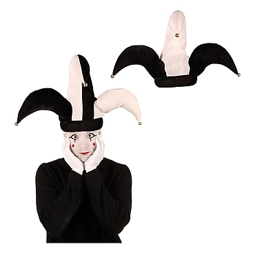Jester Hats, Plush, One Size Fits Most, Black & White 6/Pack