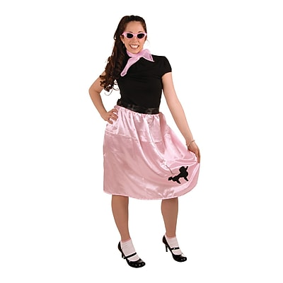 Beistle Wrap-Around Poodle Adjustable Skirt, Pink/Black