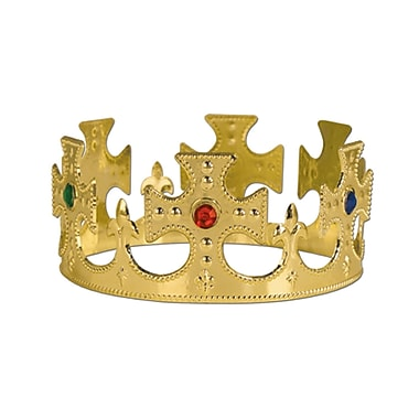 Plastic Jeweled King's Crown, One Size Fits Most, Gold, 4/Pack