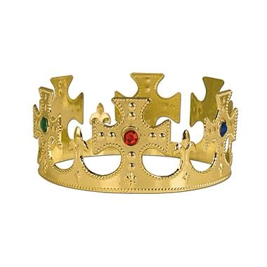 Couronne du roi ornée de pierreries, en plastique, taille unique, doré, paq./4