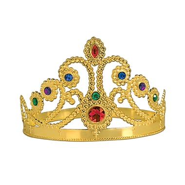 Plastic Jeweled Queen's Tiara, One Size Fits Most, Gold, 4/Pack