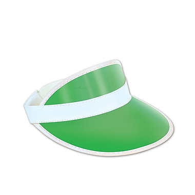 Plastic Dealer's Visor, One Size Fits Most, Clear Green, 5/Pack