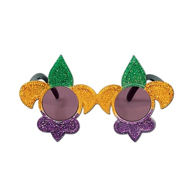 Glittered Fleur De Lis Fanci-Frames, One Size Fits Most, Green/Gold/Purple, 2/Pack