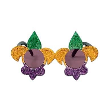 Montures fantaisie Fleurs de lis à paillettes, taille unique, vert/doré/violet, paq./2