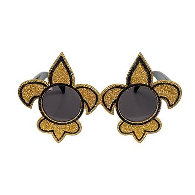 Beistle Full Head Size Glittered Fleur De Lis Fanci-Frame, Black/Gold