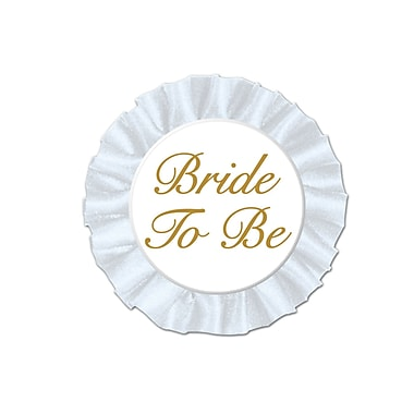 Macaron satiné « Bride To Be » 3 1/2 po, paquet de 4