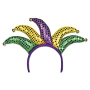 Beistle Adjustable Jester Headband, Green/Gold/Purple