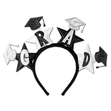 Glittered Grad Headband, One Size Fits Most, Black & Silver, 2/Pack