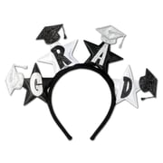 Beistle Adjustable Glittered Grad Headband, Black/Silver