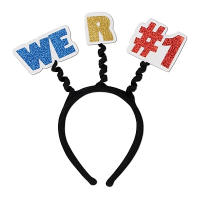 Beistle Adjustable Glittered We R #1 Boppers, Black/Blue/Yellow/Red