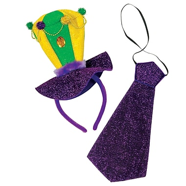 Mardi Gras Headband & Necktie Set, One Size Fits Most, 2 Sets Per Pack