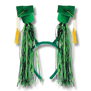 Beistle Adjustable Grad Cap With Fringe Boppers, Green/Gold