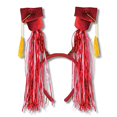 Beistle Adjustable Grad Cap With Fringe Boppers, Red/Gold