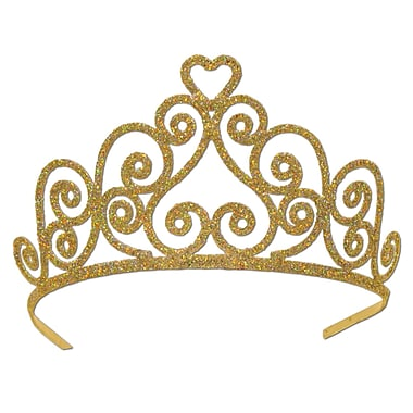 Heart Glittered Metal Tiara, One Size Fits Most, Gold