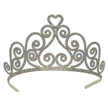 Tiare en forme de cœur argenté en métal scintillant, taille unique convenant à la plupart