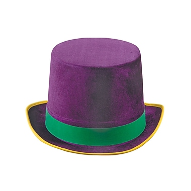 Vel-Felt Top Hat, One Size Fits Most, Green/Gold/Purple, 2/Pack