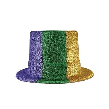 Haut-de-forme de Mardi Gras à paillettes, taille unique, vert/doré/violet, paq./3