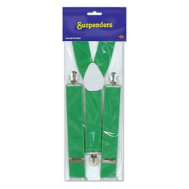 Suspenders, One Size Fits Most, Green, 2/Pack