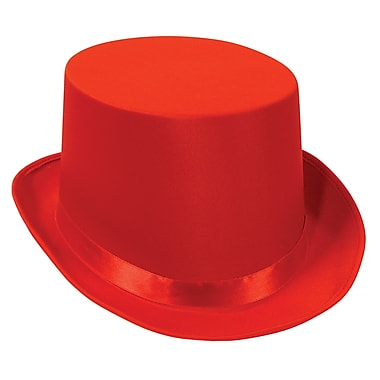 Satin Sleek Top Hat, One Size Fits Most, Red, 2/Pack