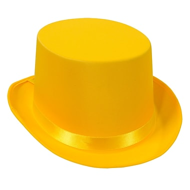 Satin Sleek Top Hat, One Size Fits Most, Yellow, 2/Pack