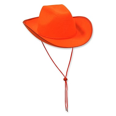 Chapeau de cowboy en feutre, taille unique, orange, 2/paquet