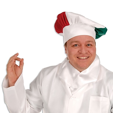 Oversized Fabric Chef's Hat, One Size Fits Most, Red/White/Green, 2/Pack