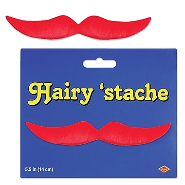 Moustache poilue, 5 1/2 po, rouge, pqt/9