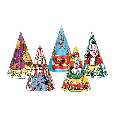 Chapeaux d'anniversaire cirque, 6 1/2 po, 144/paquet